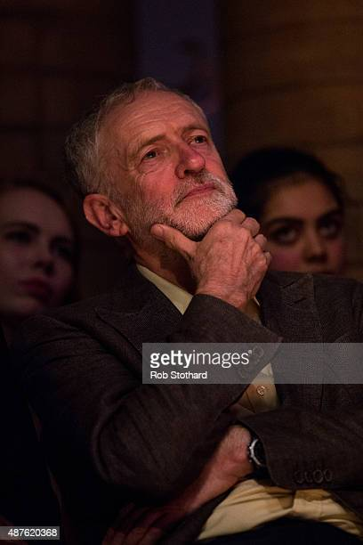 Jeremy Corbyn MP for Islington North and candidate in the Labour Party leadership election listens to speakers at the Rock Tower on September 10 2015...