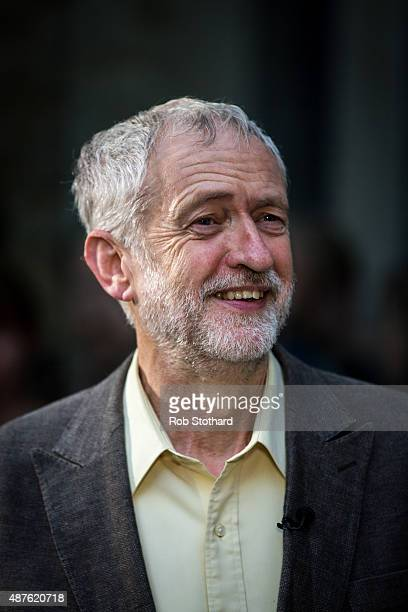 Jeremy Corbyn MP for Islington North and candidate in the Labour Party leadership election speaks to journalists outside the Rock Tower on September...