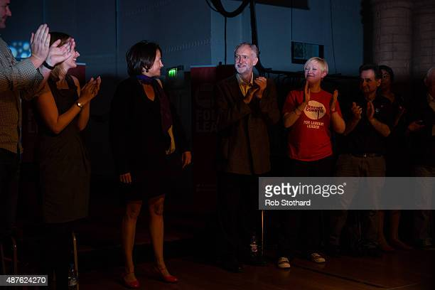 Jeremy Corbyn MP for Islington North and candidate in the Labour Party leadership election arrives on stage at the Rock Tower on September 10 2015 in...
