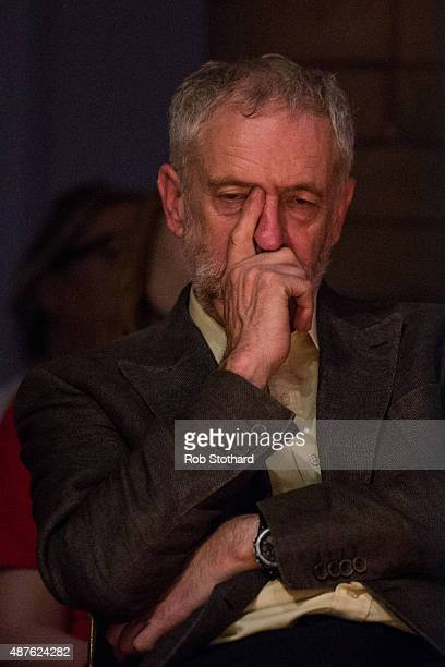 Jeremy Corbyn MP for Islington North and candidate in the Labour Party leadership election listens to speaches at the Rock Tower on September 10 2015...