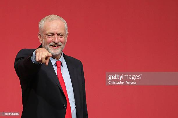 Jeremy Corbyn MP gestures to supporters after being announced as the leader of the Labour Party on the eve of the party's annual conference at the...
