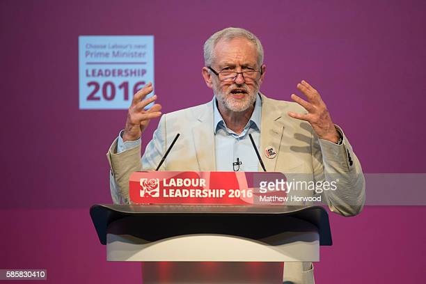 Jeremy Corbyn MP speaks during the first Labour leadership debate at the All Nations Centre on August 4 2016 in Cardiff Wales The result of the...