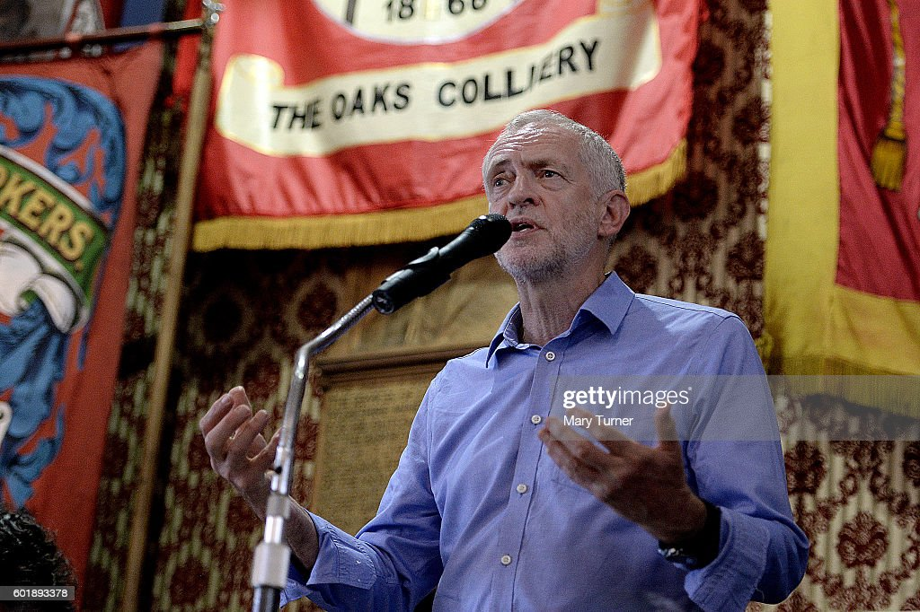 Jeremy Corbyn MP speaks to supporters during a rally at the National Union of Miners as he campaigns to retain his leadership of the Labour Party on September 10, 2016 in Barnsley, England. Mr Corbyn is being challenged for his leadership by Owen Smith MP after losing a vote of no confidence among his party's membership. The result of the contest will be announced on September 24th 2016.
