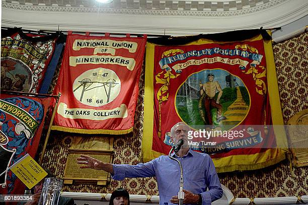 Jeremy Corbyn MP speaks to supporters during a rally at the National Union of Miners as he campaigns to retain his leadership of the Labour Party on...
