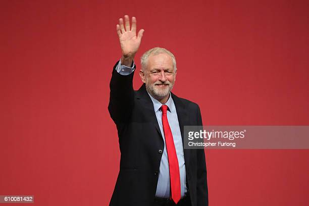 Jeremy Corbyn MP waves to supporters after being announced as the leader of the Labour Party on the eve of the party's annual conference at the ACC...