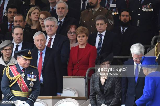 Jeremy Corbyn Nicola Sturgeon Queen Elizabeth II Teresa May and Michael Fallon attend the dedication service of The Iraq and Afghanistan memorial at...