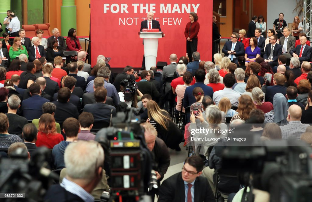 Jeremy Corbyn on stage with Rotherham candidate Sarah Champion, at the launch in Bradford of the Labour Party manifesto for the General Election.