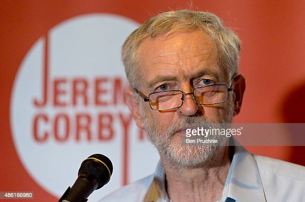 Jeremy Corbyn presents his vision for the future of the arts in a North London theatre on September 1 2015 in London England Jeremy Corbyn remains...
