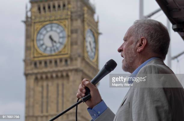 Jeremy Corbyn speaking in Parliament Square during an antiausterity demonstration in London UK