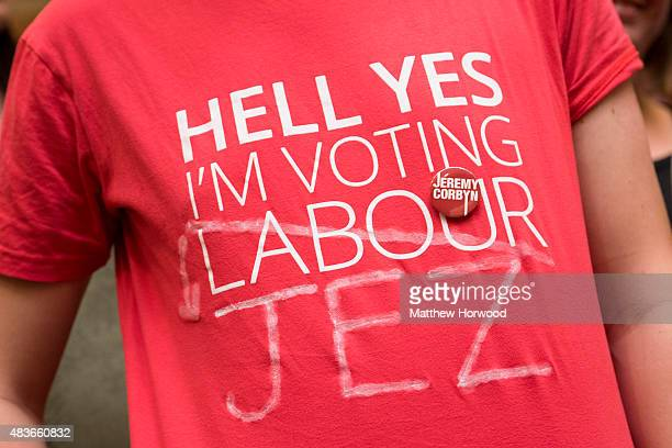 Jeremy Corbyn supporters seen at a rally led by Labour leadership candidate Jeremy Corbyn at the Mercure Cardiff Holland House Hotel on August 11...
