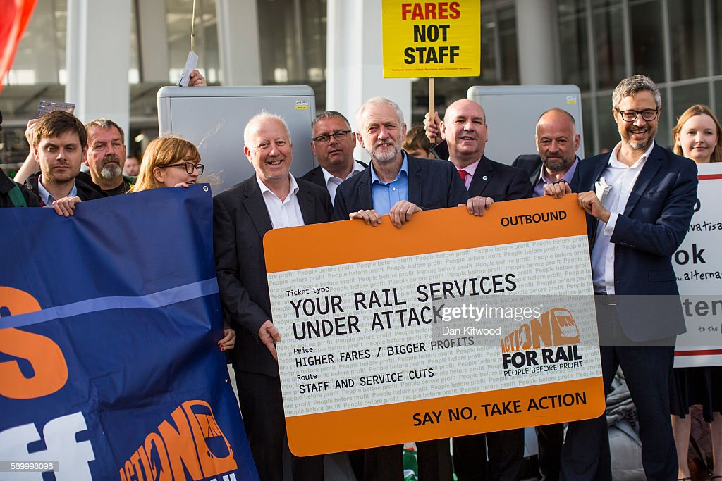 Jeremy Corbyn Joins Action For Rail Campaigners : News Photo