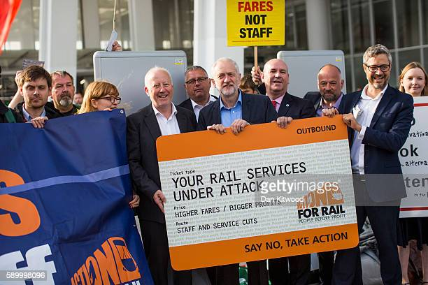 Jeremy Corbyn the leader of the Labour party joined RMT Union members outside London Bridge Station to launch 'Transport Tuesday' on August 16 2016...