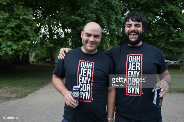 Jeremy Corbyn tshirts sported by two friends at Theresa May's Leaving Drinks in St James's Park in London England United Kingdom Following the...