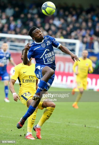 Jeremy Cordoval of Troyes during the Ligue 1 match between ESTAC Troyes and Paris Saint Germain at Stade de l'Aube on March 3 2018 in Troyes France