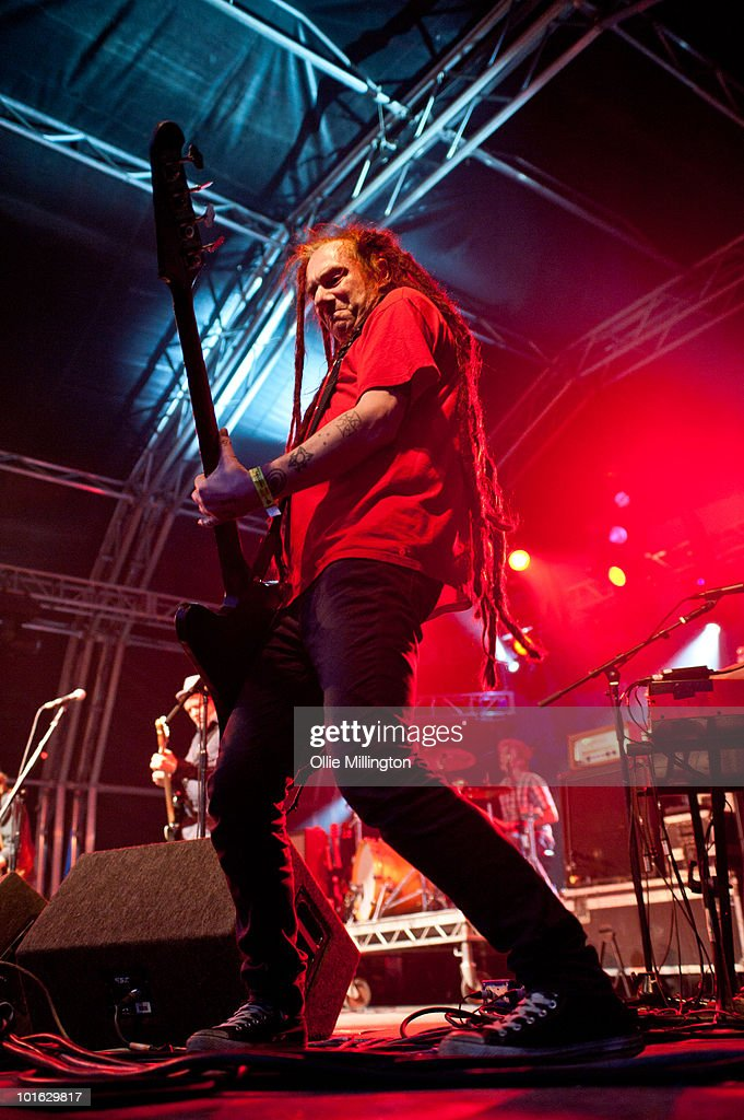 Jeremy Cunningham of The Levellers performs on stage on the first day of Wychwood Festival at Cheltenham Racecourse on June 4, 2010 in Cheltenham, England.