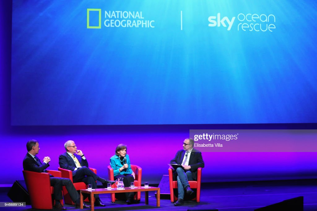 Jeremy Darroch, Gary Knell, Syliva Earle and Editor in Chief at National Geographic Italy Marco Cattaneo attend the National Geographic Science Festival at Auditorium Parco Della Musica on April 16, 2018 in Rome, Italy. National Geographic commit $10 million to support Sky Ocean Ventures as they join forces to reduce plastics in the ocean. The collaboration will create the largest global media campaign to date focused on marine plastics.