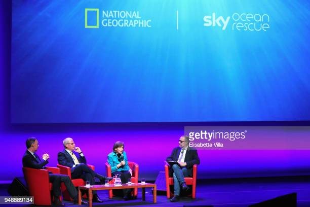 Jeremy Darroch Gary Knell Syliva Earle and Editor in Chief at National Geographic Italy Marco Cattaneo attend the National Geographic Science...