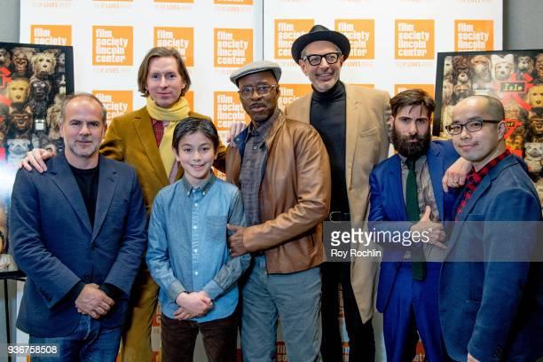 Jeremy Dawson Wes Anderson Koyu Rankin Courtney B Vance Jeff Goldblum Jason Schwartzman and Akira Ito during the 'Isle Of Dogs' New York Screening QA...