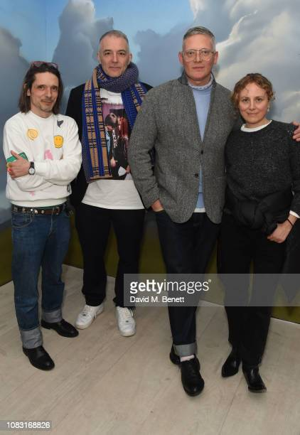 Jeremy Deller Steve Mackey Giles Deacon and Sophia Prontera attend the launch of 'Wiltshire Before Christ' by Aries X Jeremy Deller x David Sims at...