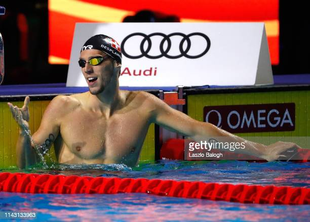 Jeremy Desplanches of Switzerland reacts during the Men's 200m Individual Medley during day one of the FINA Champions Swim Series at Duna Arena on...