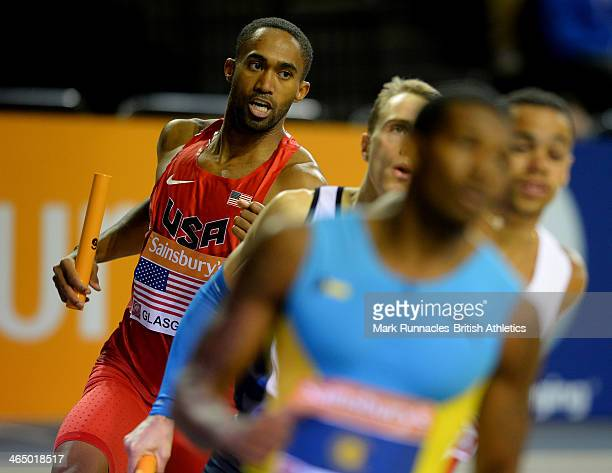 Jeremy Dodson of the USA in action during the Mens 4x400m at the British Athletics Sainsbury's Glasgow International Match at the Emirates Arena on...