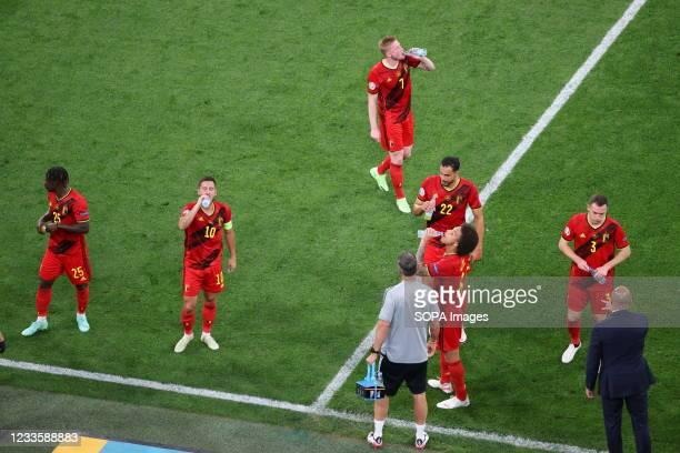 Jeremy Doku , Eden Hazard , Kevin De Bruyne , Nacer Chadli , Axel Witsel ,and Thomas Vermaelen of Belgium are seen during the European championship...