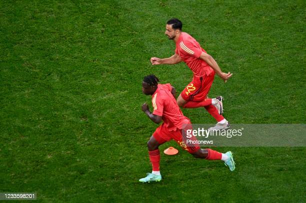 Jeremy Doku forward of Belgium & Nacer Chadli midfielder of Belgium during the 16th UEFA Euro 2020 Championship Group B match between Finland and...