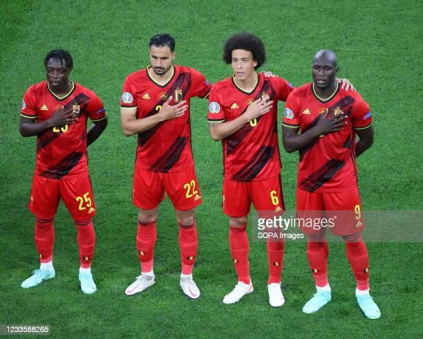 Jeremy Doku , Nacer Chadli , Axel Witsel and Romelu Lukaku of Belgium are seen during the European championship EURO 2020 between Belgium and Finland...