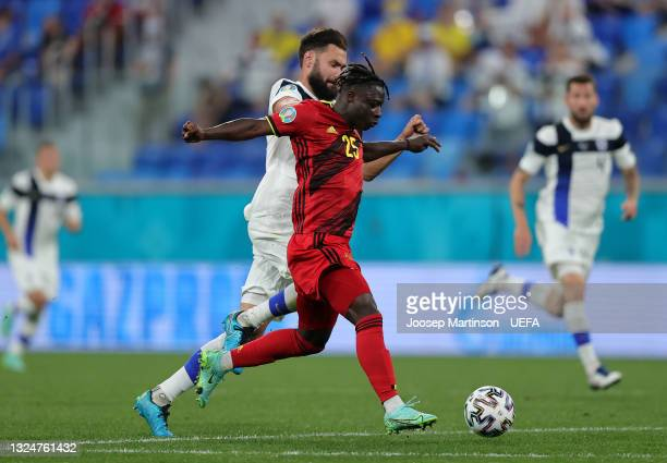 Jeremy Doku of Belgium battles for possession with Tim Sparv of Finland during the UEFA Euro 2020 Championship Group B match between Finland and...