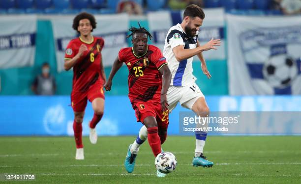 Jeremy Doku of Belgium battles for the ball with Tim Sparv of Finland during the UEFA Euro 2020 Championship Group B match between Finland and...