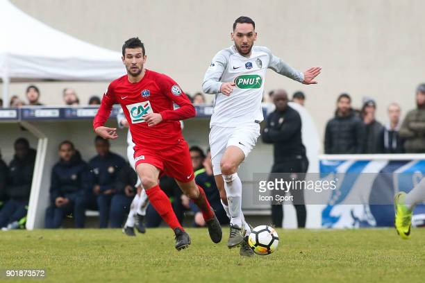 Jeremy Drouglazet of Concarneau and Tarik Kharouni of Houilles during the french National Cup match between Houilles and Concarneau on January 6 2018...
