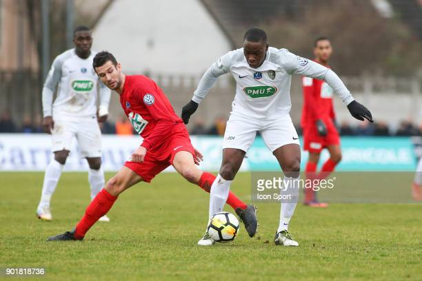 Jeremy Drouglazet of Concarneau and Teddy Gadjard of Houilles during the french National Cup match between Houilles and Concarneau on January 6 2018...