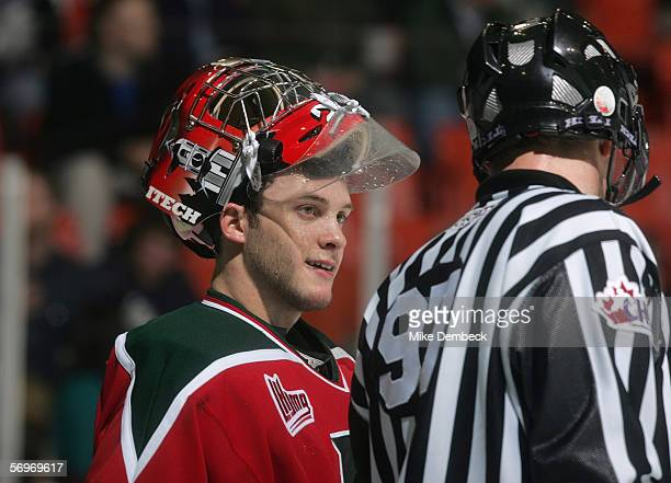 Jeremy Duchesne of the Halifax Mooseheads talks to an official during the game against the Rimouski Oceanic at the Halifax Metro Centre on January 26...