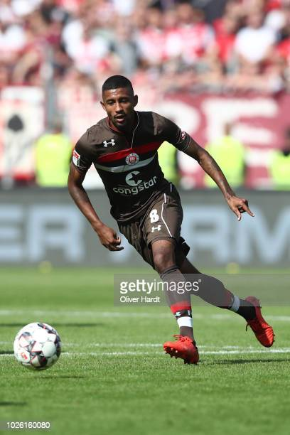Jeremy Dudziak of StPauli in action during the Second Bundesliga match between FC St Pauli and 1 FC Koeln at Millerntor Stadium on September 2 2018...