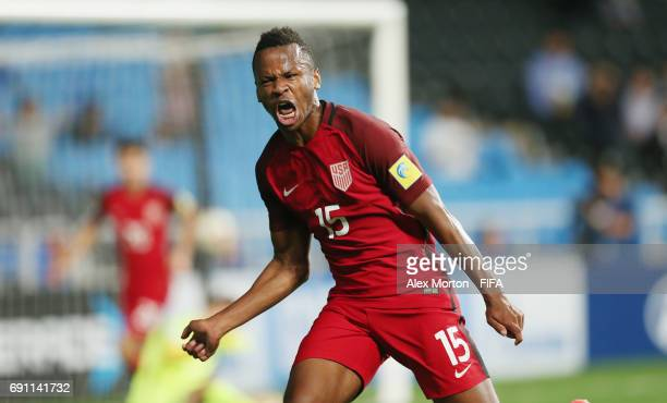 Jeremy Ebobisse of USA celebrates after scoring their second goal during the FIFA U20 World Cup Korea Republic 2017 Round of 16 match between USA and...