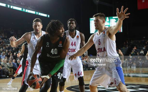 Jeremy Evans #40 of Darussafaka Tekfen Istanbul in action with Alec Peters #5 of CSKA Moscow during the 2018/2019 Turkish Airlines EuroLeague Regular...