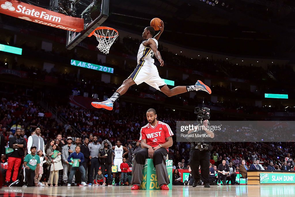 Jeremy Evans dunks over Dahntay Jones during the Sprite Slam Dunk Contest part of 2013 NBA All-Star Weekend at the Toyota Center on February 16, 2013 in Houston, Texas.