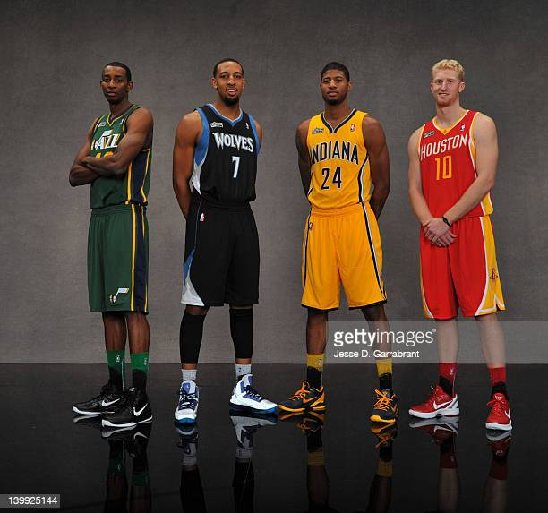 Jeremy Evans of the Utah Jazz,Derrick Williams of the Minnesota Timberwolves,Paul George of the Indiana Pacers and Chase Budinger of the Houston...
