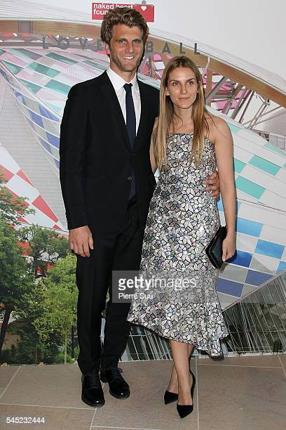 Jeremy Everett and Gaia Repossi attend the 'The Art of Giving' Love Ball Naked Heart foundation Photo Call as part of Paris Fashion Week on July 6...