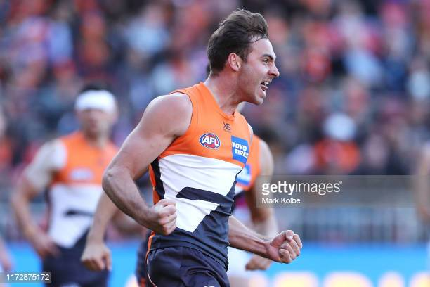 Jeremy Finlayson of the Giants celebrates kicking a goal during the AFL 2nd Elimination Final match between the Greater Western Sydney Giants and the...