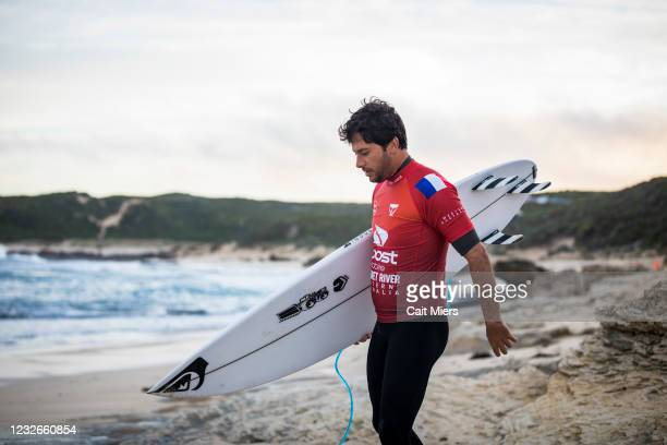 Jeremy Flores of France surfing in Heat 11 of Round 1 of the Boost Mobile Margaret River Pro presented by Corona on May 3, 2021 in Margaret River,...