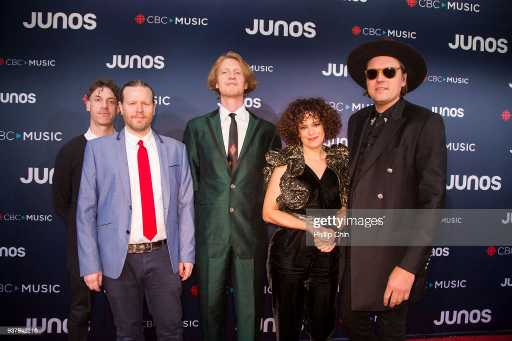 Jeremy Gara, Tim Kingsbury, Richard Reed Parry, Regine Chassagne and Win Butler of Arcade Fire attend the red carpet arrival at the 2018 Juno Awards at Rogers Arena on March 25, 2018 in Vancouver, Canada.