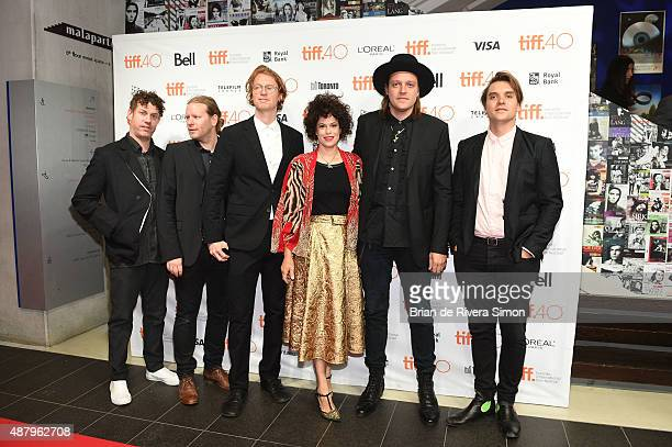 Jeremy Gara Tim Kingsbury Richard Reed Parry Regine Chassagne Win Butler and William Butler of Arcade Fire attend 'The Reflektor Tapes' photo call...