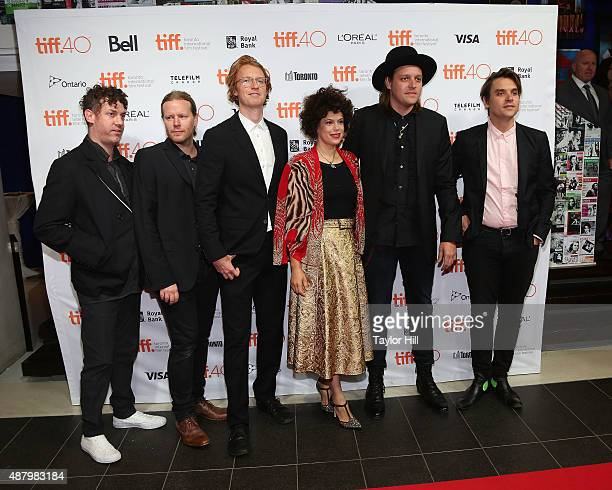 Jeremy Gara Tim Kingsbury Richard Reed Parry Regine Chassagne Win Butler and Will Butler of Arcade Fire attend a photocall for The Reflektor Tapes...