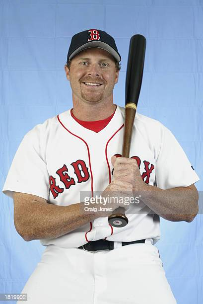 Jeremy Giambi of the Boston Red Sox poses for a portrait during the Red Sox spring training Media Day on February 23 2003 at Ed Smith Stadium in...