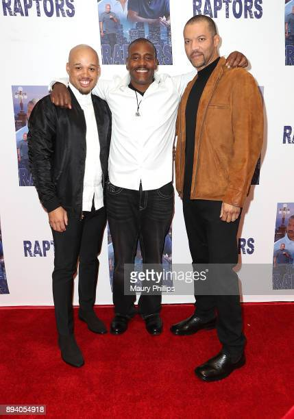 Jeremy Gillett Jonathan T Floyd and Christopher B Duncan arrive at the Los Angeles Special Screening of 'Raptors'at The London Hotel on December 16...