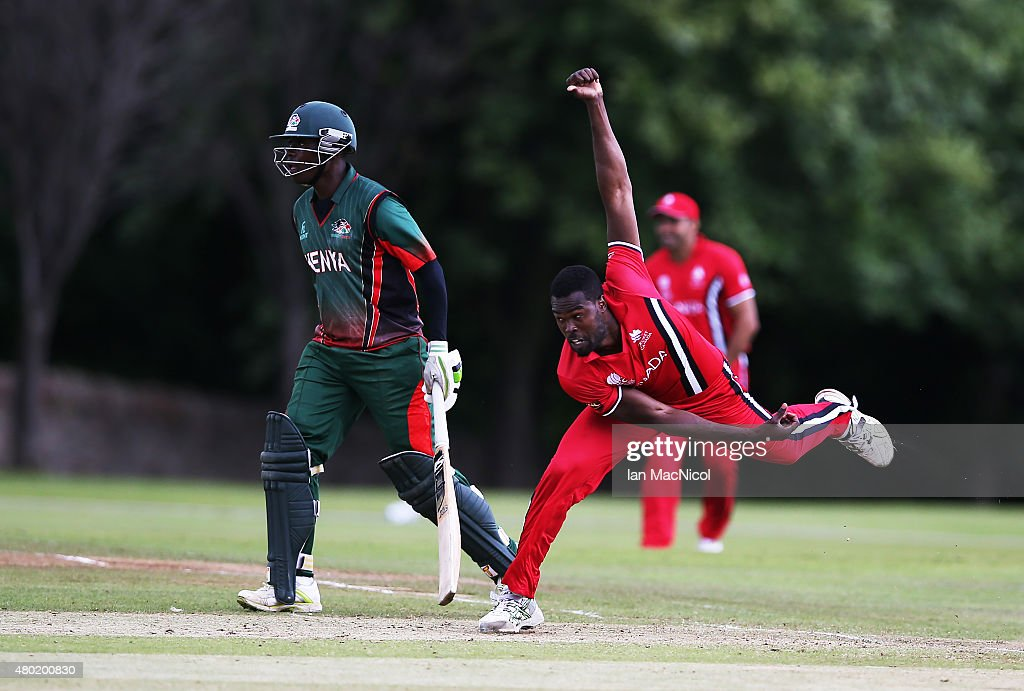 Jeremy Gordon of Canada in action during the ICC World Twenty20 India Qualifier between Canada and Kenya at Myreside Cricket Club, on July 10, 2015 in Edinburgh Scotland.