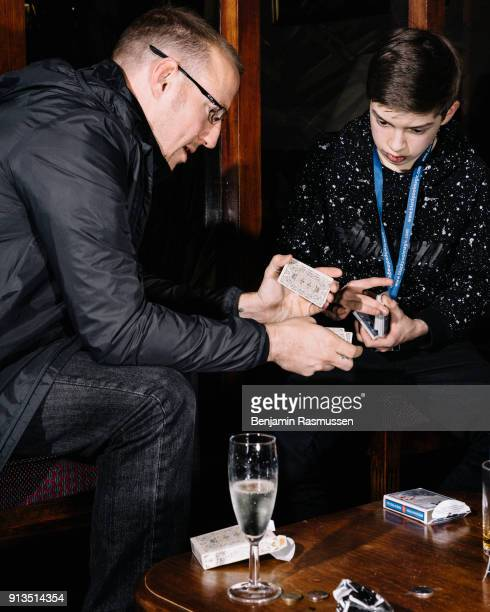 Jeremy Griffith talks to a young magician about card handling at the Ruskin hotel in Blackpool on February 19 2016 The most talented and innovative...