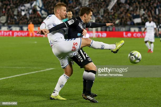 Jeremy Grimm of Strasbourg and Valentin Vada of Bordeaux in action during the Ligue 1 match between FC Girondins de Bordeaux and Strasbourg at Stade...