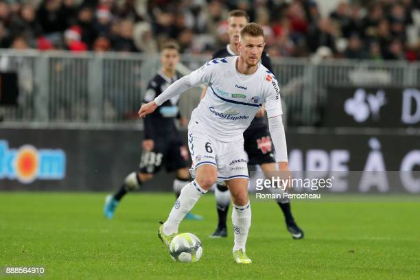 Jeremy Grimm of Strasbourg in action during the Ligue 1 match between FC Girondins de Bordeaux and Strasbourg at Stade Matmut Atlantique on December...